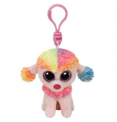 Add some colour to your backpack with this cute and funky little rainbow poodle plush clip