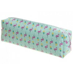 A funky and colourful flamingo themed pencil case, perfect for the back to school rush!