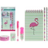 Be prepared for the new term start with this super stylish and quirky flamingo themed stationary set