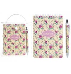 A pretty ditsy floral notebook with matching pen. A lovely stationery item and gift.