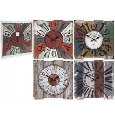 An assortment of 4 rustic wooden wall clocks in a variety of colourful designs.