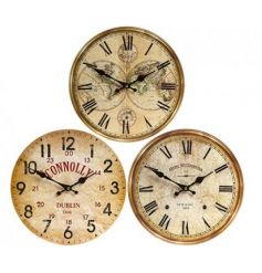 An assortment of 3 antique style wooden wall clocks in various designs.