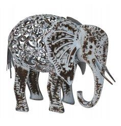 A grey metal elephant garden figurine