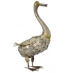 A silver metal duck garden figurine