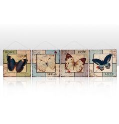 An assortment of 4 metal hanging signs with butterflies and home, dream, hope and love slogans.