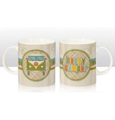 A retro inspired VW Happy Camper mug. A great gift item.