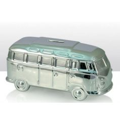 Save your pennies for those camper van road trips with this silver design money box.