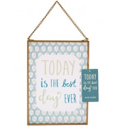 This sweetly styled glass hanging sign is perfect for all spaces