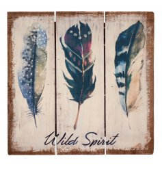 Wild Spirit Wooden Plank  A plank styled wooden sign, finished with a distressed Pure and warm feel