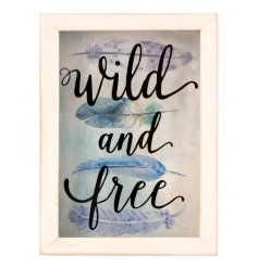 This beautiful feathered 'Wild and Free' wooden frame is the perfect piece for any colourful home