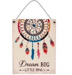 Bring a dash of colour to any little ones room with this pure and warm themed metal sign.