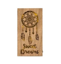 A stylish natural toned wooden plaque with fitted LED lighting, complete with a Pure and Warm theme