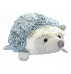 Grey fluffy fabric hedgehog doorstops