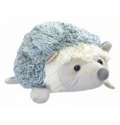 A sweet fluffy hedgehog doorstop in grey