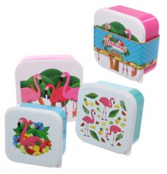 3 quirky and colourfully fun flamingo themed pack away lunch boxes.