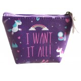 Purple Unicorn Coin Purse  Keep all your loose change safe in this magical unicorn printed pvc purse
