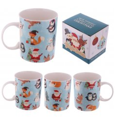 what better way to drink your festive hot chocolate than in this sweet little christmas buddies mug!