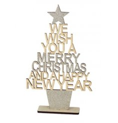 A 24cm christmas tree spelling Merry Christmas & Happy New Year