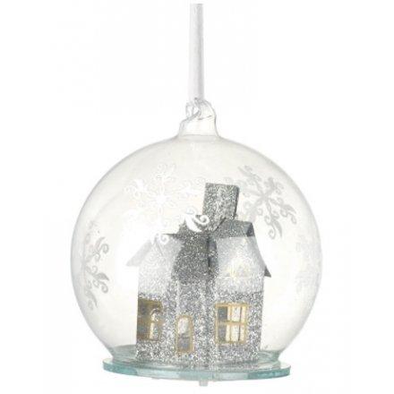 LED Glitter House Bauble