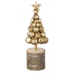 A gold metal tree made from bells on a stump