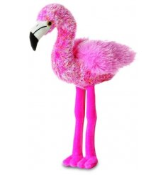 This fabulously fluffy flamingo will be sure to bring a fiesta wherever he goes!