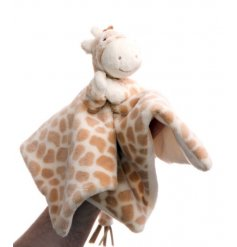 Interact with your little one with this sweet and super snuggly giraffe finger puppet blanky