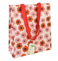 An eco friendly and colourful poppy design shopper bag.