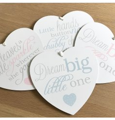 An assortment of 4 baby hearts hanging decorations