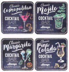 An assortment of 4 Cocktail themed coasters