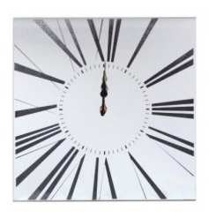 A square mirrored wall clock