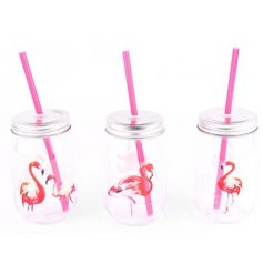 A stylish assortment of 3 pink drinking mason jars,