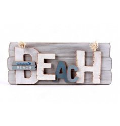 A 'Beach' hanging sign with rope hanger
