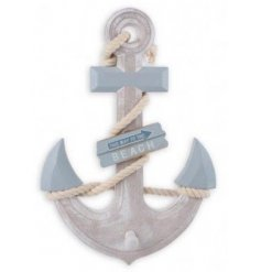 stylish wooden based Anchor, finished with a wrapped rope and a added peg for holding abilities