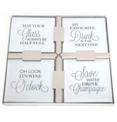 4 stylish mirrored coasters with classy glitz wine quotes