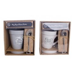 A sweet assorted set of mug shaped garden planters, complete with a resting tray and mini shovel
