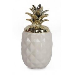 Bring a gold and white modern look to your home with this quirky ceramic based pineapple.