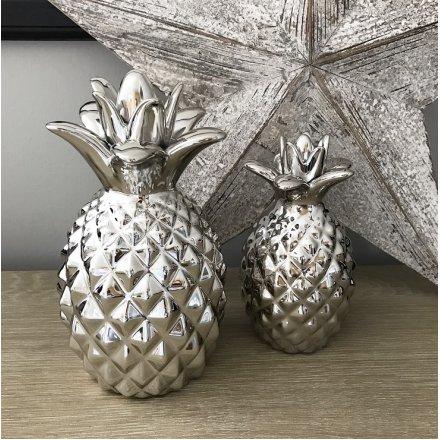 Silver Ceramic Pineapple Ornament