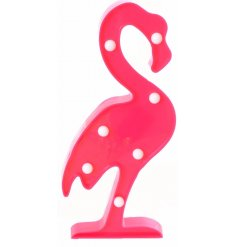 A stylish flamingo shaped frame with fitted LED bulbs,