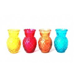 4 colourfully assorted pineapple themed candles