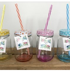 An assortment of 4 colourful drinking jars, each complete with a matching straw.