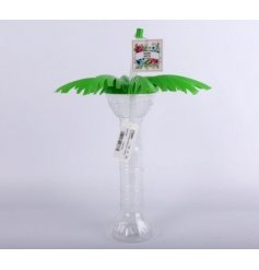 A funky themed Palm Tree Drinking Cup with added chunky straw and leaf lid