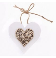 A sweet little hanging heart from a stylish white wooden range