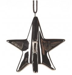 A shiny 3D hanging star made form a strong ceramic and coated a smooth silver paint,