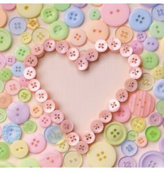 A simply sweet simplistic themed greetings card complete with pastel coloured buttons