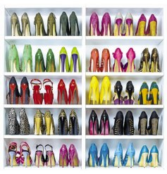 A quirky and colourful shoe galore themed greetings card.
