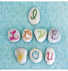 "A quirky and colourful ""I love you"" themed greetings card."