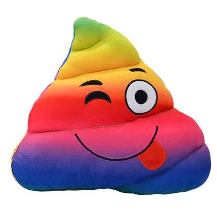 Rainbow Poop Emoji Cushion