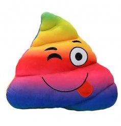 A rainbow poop emoji cushion