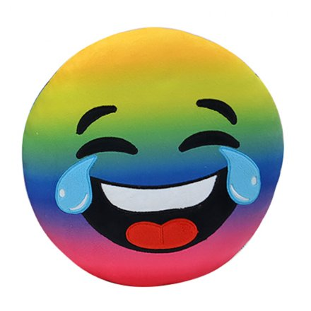 Rainbow Laughing Tears Emoji Cushion