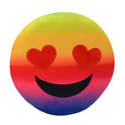 Rainbow Heart Eyes Emoji Cushion